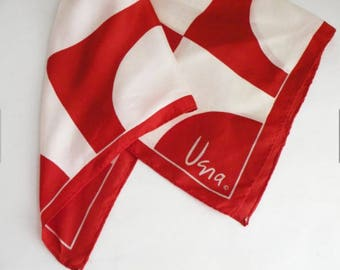 Women Vintage Acetate Scarf by Vera Red and White