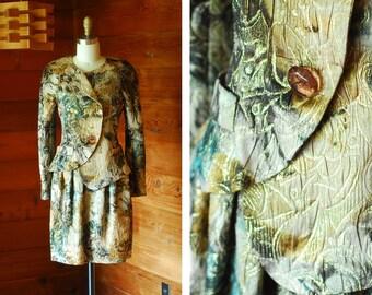 vintage Krizia floral brocade silk suit / size small
