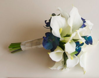 Real Touch Calla Lily and Orchid Bouquet (Turquoise Bouquet, White Bouquet) Artificial Calla Lily Bouquet