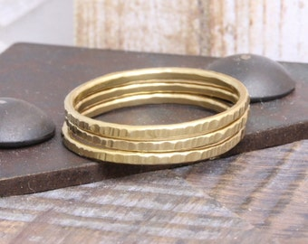 1.0 mm 3 pcs vermeil gold shiny textured stacking rings , band rings