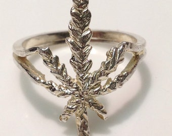 Cannabis Ring Handmade in Sterling Silver