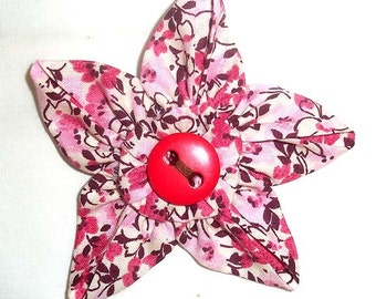 Fabric Flower Brooch or Pin in Pink and Brown Floral with Vintage Button F-20