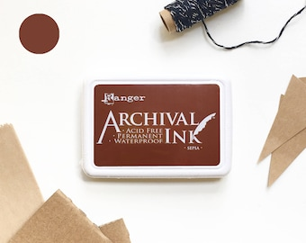 BROWN ink pad, sepia brown ink pad, Ranger ink pad, brown ink, rubber stamp ink pad, acid free, non-toxic, waterproof, permanent