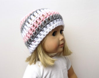 Doll Hat 18 Inch Doll Striped Doll Beanie Pink Gray White