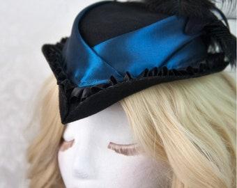 Riding Hat   Gothic Delight   Victorian Hat, Steampunk Hat, Gothic Hat, Wedding Accessories, Gothic Wedding, Steampunk Wedding, Tilt Hat