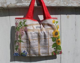 "Upcycled Vintage 1994 Calendar Tote, 16""x12"", vintage wall calendar, 1994 calendar, flower garden, grocery tote, library tote bag, OOAK"
