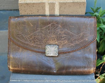 Vintage Tooled Brown Leather Purse Envelope Clutch