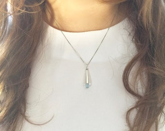 Blue Topaz, Micro Faceted, Tear Drop Necklace - 6x9mm