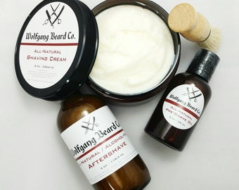 All Natural 3 Piece Shaving Set - Pre-Shave Oil, Shaving Cream, Aftershave