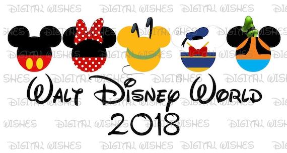 fab 5 five mickey mouse and gang heads ears walt disney world rh etsy com  disney world clipart