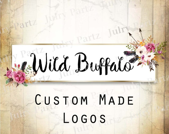 LOGO in Purple Posie BUFFALO•Premade Logo•Jewelry Card Logo•Flower Logo•Custom Logo•Shop Logo