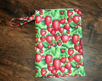 Strawberry Wet Bag~ Bikini Bag, Baby, Travel, Personal, PUL Bag, Swim, Beach Bag~Resuseable Bag