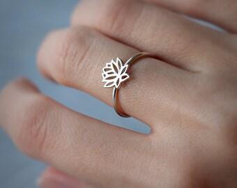 Lotus ring - silver lotus - flower ring - lotus flower - yoga jewelry - yoga ring - sterling silver 925 - Jewelry by KatStudio