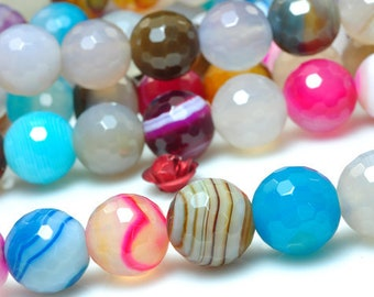 37 pcs of Multicolored Banded Agate faceted round beads in 10mm