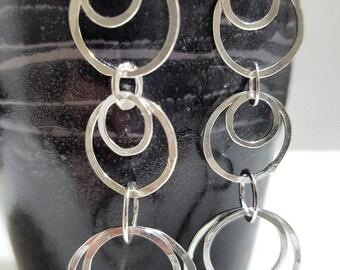 Modern circles stud earrings, Silver stud earring, Long silver earrings, Large silver earrings, Under 50