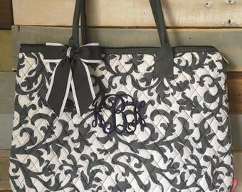 Monogram Tote Bag, Gray Tote Bag, Shoulder Bag, Quilted Tote Bag, Personalized Bag, Diaper Bag, Personalized Tote, Quilted Tote, Gift