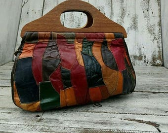 Vintage patchwork leather bag shopper 70s hippie boho