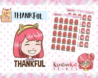 Thankful Ms. Hope Mood Stickers - Daily Stickers / Deco / Planner Goodies / Emoji / Emoticon / Planner lover Kawaii Stickers