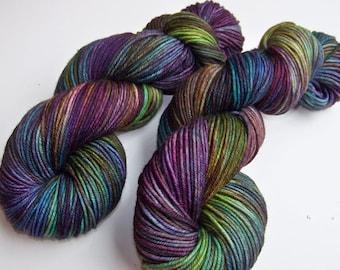 Hand Painted Superwash Merino DK Yarn -- Tropical Fish (Ex-Lg 120gram/282yds skein)