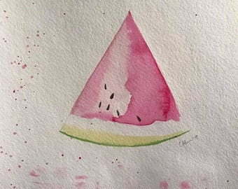 Fresh Slice O' Watermelon watercolor painting