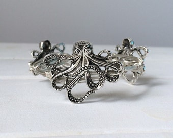 Octopus Bangle - Silver Octopus Wire Bangle