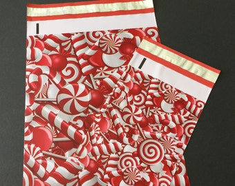 100 6x9 and 10x13 CANDY CANE Poly Mailers 50 each Self Sealing Envelopes Christmas