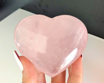 Large Rose Quartz Heart Perfect for LOVE, Relationship Crystals Grid