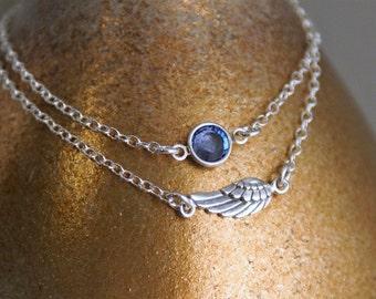 Angel wing with Birthstone Bracelet Set / Layered Bracelet / Sterling Silver Bracelet / Sterling Silver Birthstone Bracelet Set of two