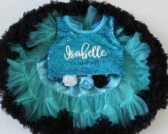 Blue and Black Tutu - Baby Girl 1st Birthday Tutu - Second Birthday Outfit