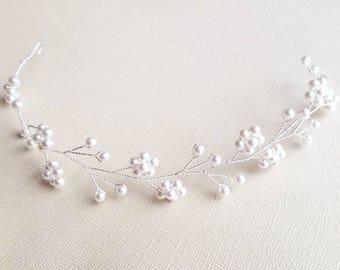 Pearl Crown, Flower Vine, Bridal Hair Vine, Wedding Hair Piece, Vine Crown, Pearl Vine, Flower Headpiece, Beaded Hair Vine, Wedding Hair
