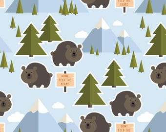 Woodland Baby Blanket, Boy Crib Bedding, Fitted Crib Sheet or Changing Pad Cover, Bear Nursery, Whimsical Nursery, Bear & Mountain Nursery