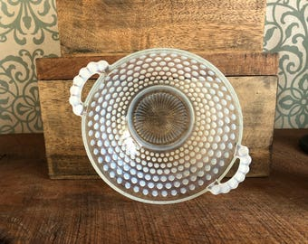 Opalascent Moonstone Hobnail Bowl - Glass Bowl with Handles Vintage Retro Shabby Chic Vanity Bathroom Bedroom Bedside Table