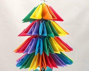 Rainbow Handmade 3D Origami Christmas Tree Christmas/Holiday Ornament with a Blue Jingle Bell