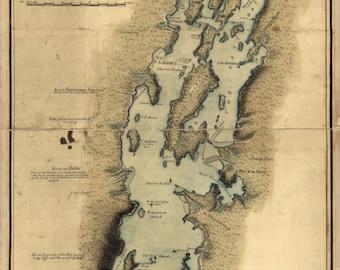 Lake Champlain 1765 Map by Collins - VT, NY Reprint