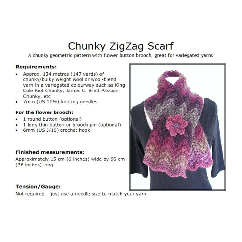 Chunky knit scarf pattern pdf, zig zag bulky scarf, wave scarf, easy ...
