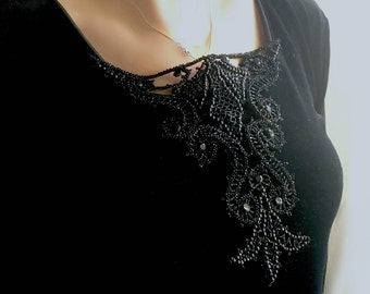 Black vintage dress Laura Ashley ( in new condition) with whitby jet decor