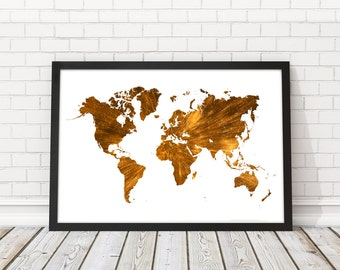 Gold World map wall art, Gold Wall decor, Travel map, World Map gold, World map art, Gold map, Map poster, Modern wall art, PRINTABLE art