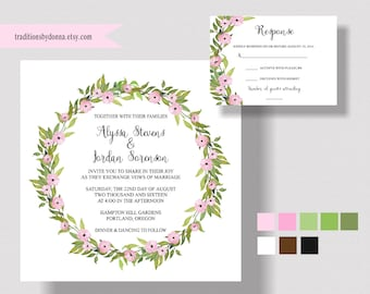 GARDEN WEDDING INVITATION Suite, Boho, Bohemian, Watercolor Wreath, Rustic, Shabby Chic Wedding, Pink Floral Invitation. Woodland Wedding