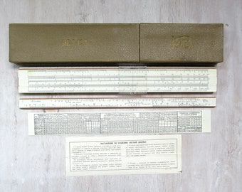 Vintage slide rule Calculating line Logarithmic scale Wood ruler Mathematical Soviet ussr Engineer tool Instrument Drafting tools Supplies