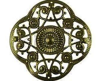 LAST SET! 6 beautiful prints pinwheel 45mm (very thin metal) filigree bronze color