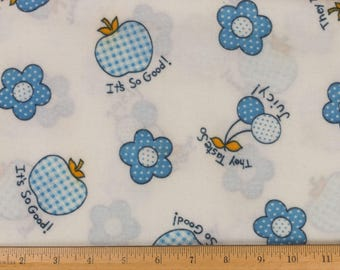 White print flannel fabric Apples Cherries Strawberries Flowers 2 yards 45 in. wide Sold as one piece Children's clothing Stuffies Pillows