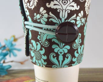 Damask Cup Cozy, Gift for Coffee Lovers, Novelty Unisex Present for Her, Tea Enthusiasts, Java Jacket Sleeve, Aqua Starbucks Panera Cover