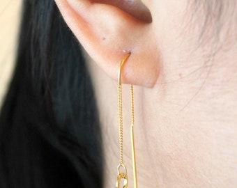 Sterling Silver U-Shape Dangling Earrings, Silver Chain Earrings, Sterling Silver Threader Earrings