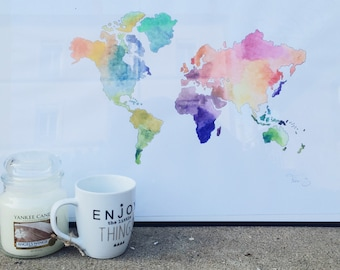 Drawing map of the world made watercolor hand