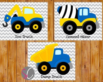 Boys Bedroom Decor Construction Trucks Wall Art Vehicles Blue Yellow Things that Go Set of 3 Printable 8x10 JPG Files Instant Download (72)