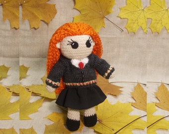 Ginny Weasley Crochet Doll Portrait doll Personalized gift  Hogwarts Rowling teenage gift Harry Potter Witchcraft Wizardry MADE TO ORDER