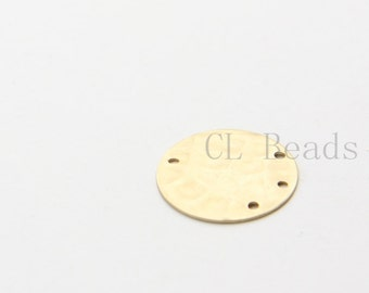 4pcs Matte 16K Gold Plated Hammered Round Disc with Multiple Holes - 18mm (1720C-U-6)