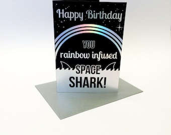 Space Shark - Parks and Recreation inspired birthday card, size A6