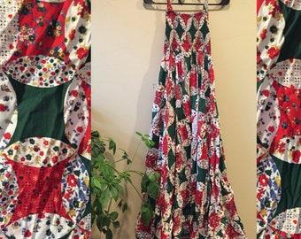 Vintage 70s Green & Red Halter Maxi Dress size Medium