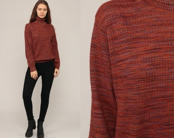 70s Sweater Retro Turtleneck Boho Knit High Neck Burgundy Space Dye Sweater 1970s Vintage Funnel Neck Pullover Large